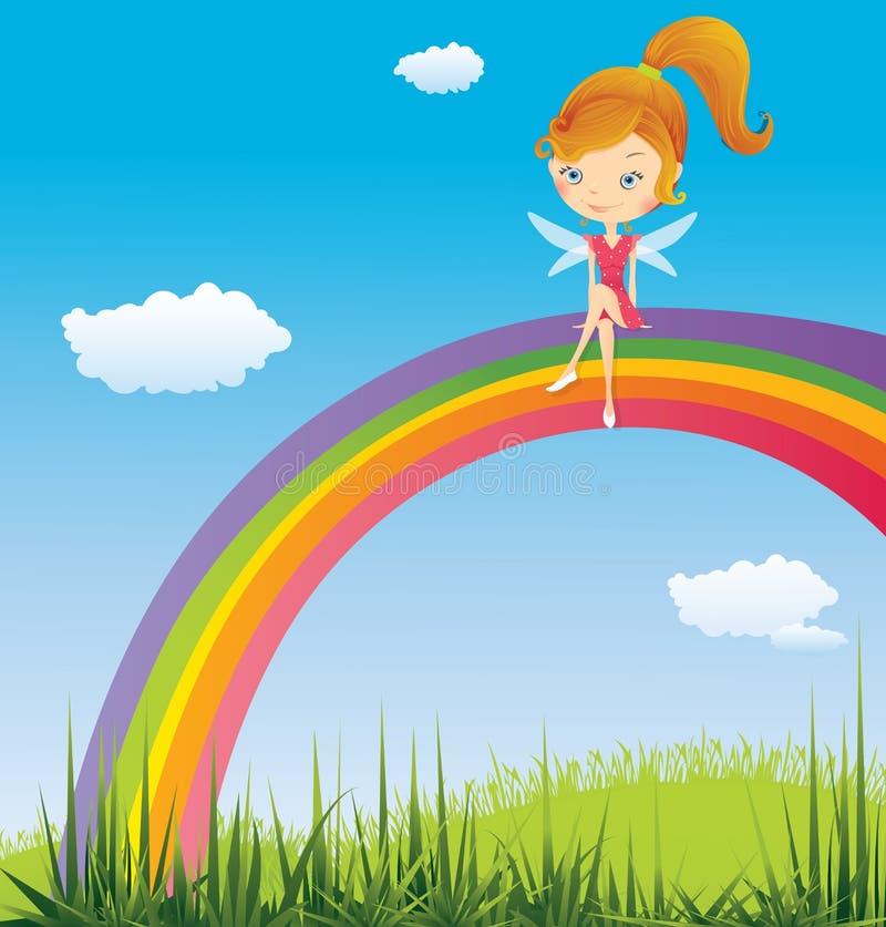 Hada en un arco iris ilustración del vector. Ilustración de hada ...