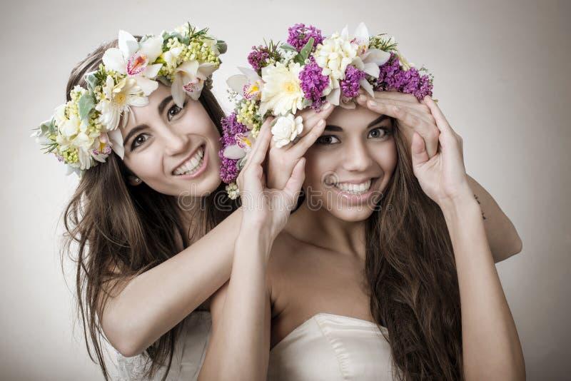 Hada hermosa de la primavera dos, divertida, símbolo de la amistad imagen de archivo libre de regalías