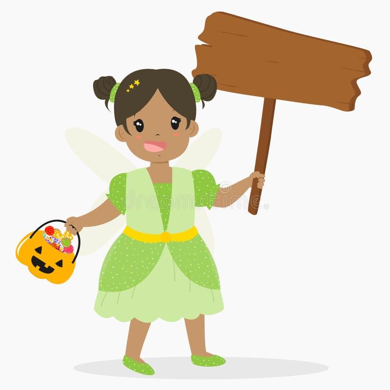 Hada linda que sostiene una muestra de madera y un cubo de la calabaza, vector de la historieta de Halloween ilustración del vector