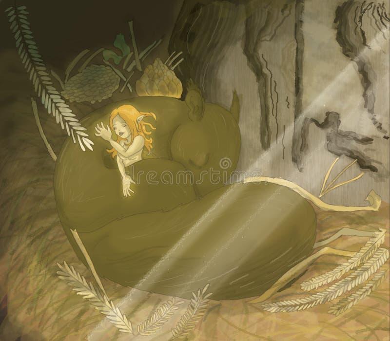 Hada soñolienta stock de ilustración
