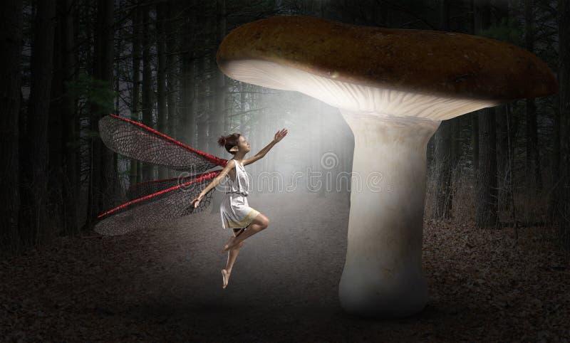 Hada surrealista, bosque, imaginación, fantasía stock de ilustración