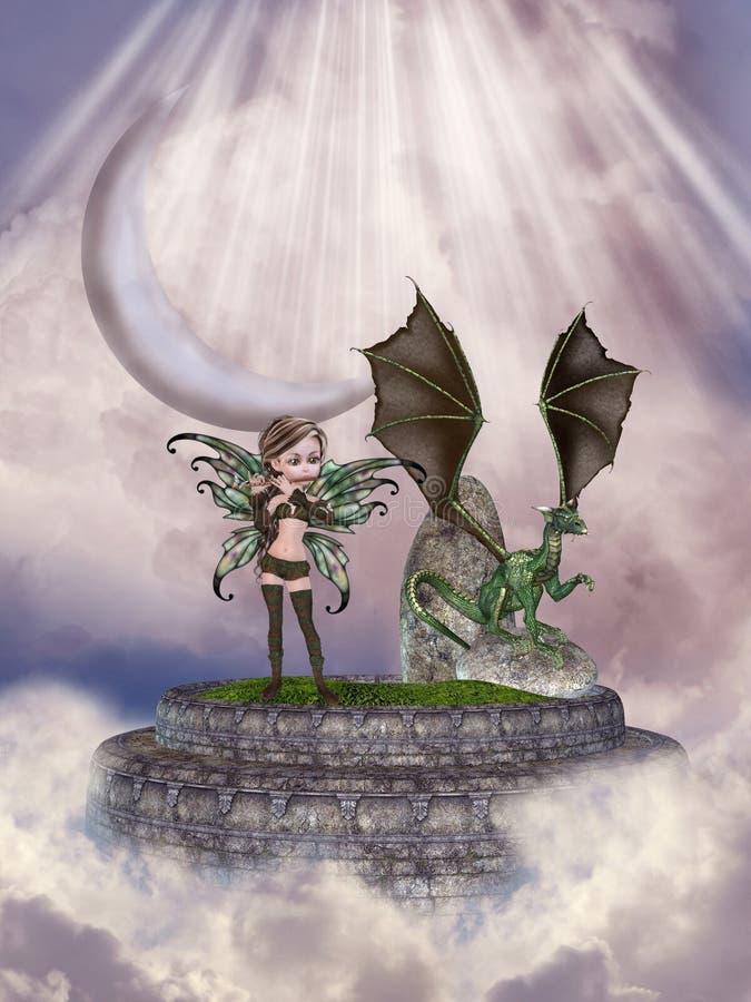 Hada y dragón stock de ilustración