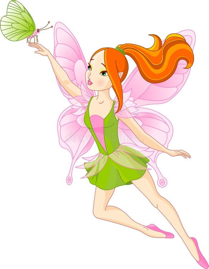 Hada y mariposa hermosas ilustración del vector