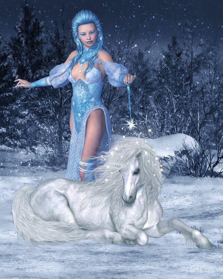 Hada y unicornio de la nieve stock de ilustración