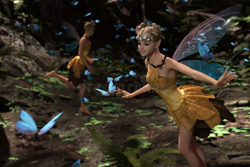 Hadas que vuelan en bosque mágico stock de ilustración