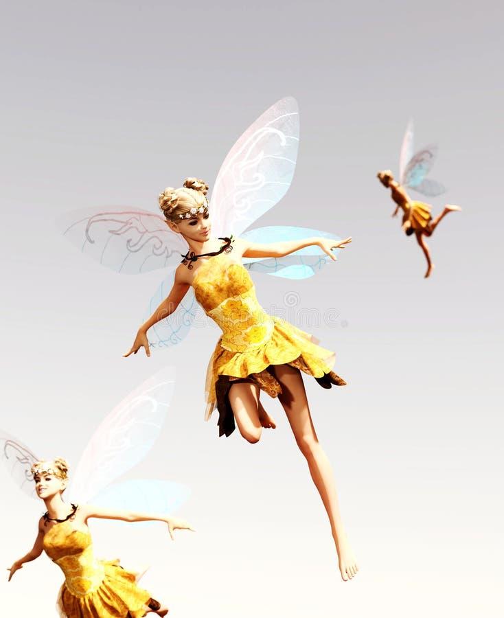 Hadas que vuelan en el cielo libre illustration