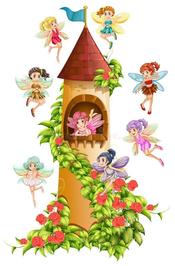 Hadas y torre stock de ilustración