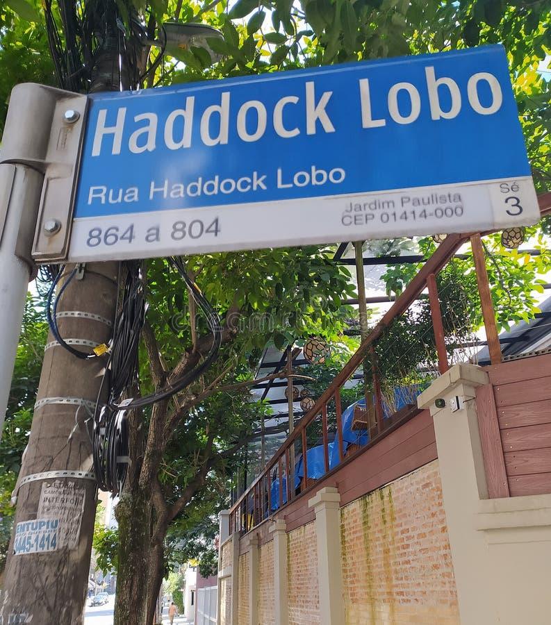 Haddock Lobo street sign. Haddock Lobo street in Sao Paulo. Street sign in Jardins district, SP, Brazil. stock image