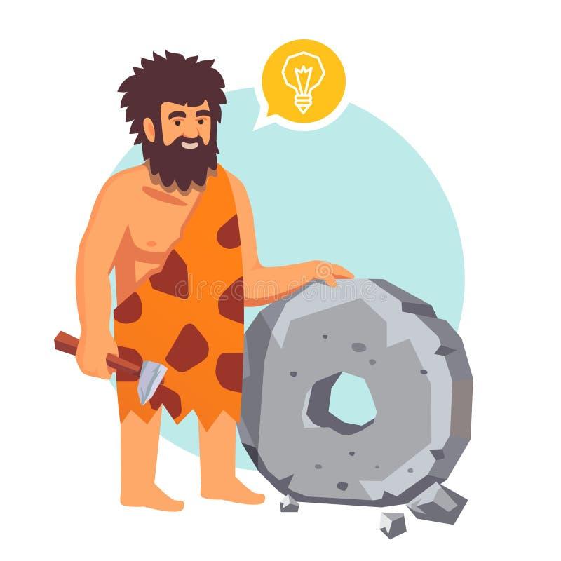 Hade den primitiva mannen för stenåldern en idé royaltyfri illustrationer