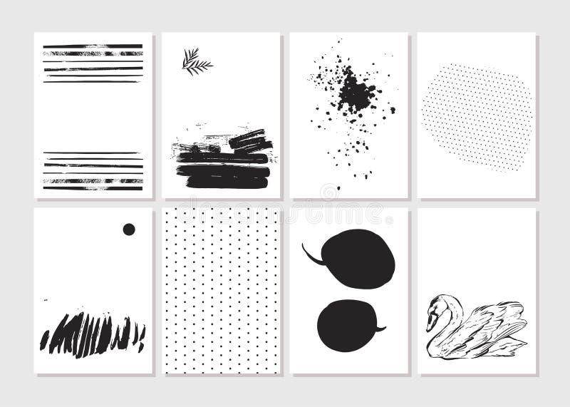 Hade gjort vektorn den idérika uppsättningen för kortet för mallen för modeglamour handen drog Vektorsamlingen av svart, vit text stock illustrationer