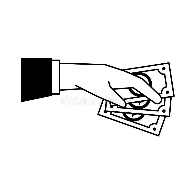 Hade med isolerat svartvitt för kassa tecknade filmen royaltyfri illustrationer