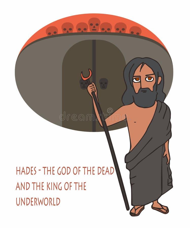 Hades ο Θεός του νεκρού και ο βασιλιάς των κινούμενων σχεδίων υπόκοσμων διανυσματική απεικόνιση