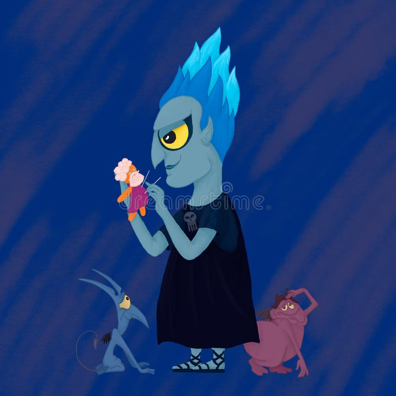 Hades god of the underworld. Evil little Hades royalty free stock images