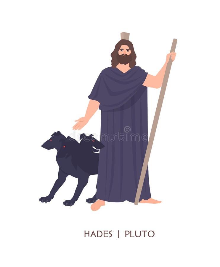 Hades ou Plutão - deus de inoperante, rei do submundo no grego clássico e religião ou mitologia romana Desenhos animados masculin ilustração stock