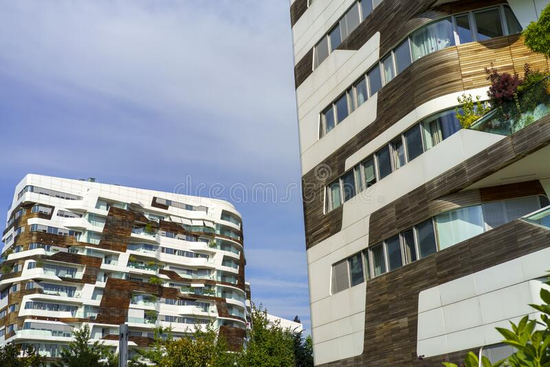 Hadid  residential buildings at Citylife, Milan royalty free stock photos