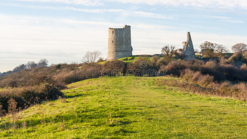 Hadleigh Schloss/Ruinen stockfotografie