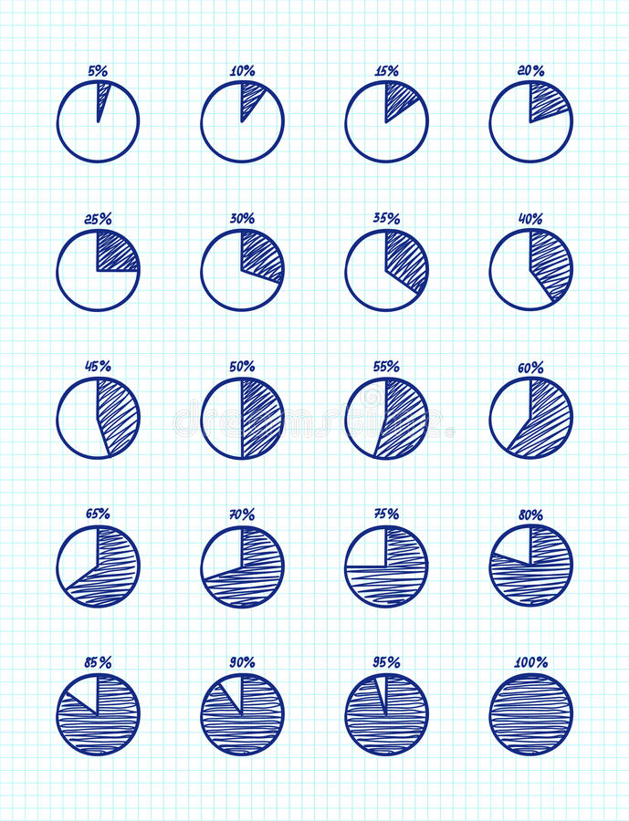 Hadn-drawn vector feltip pen pie chart icons set royalty free illustration