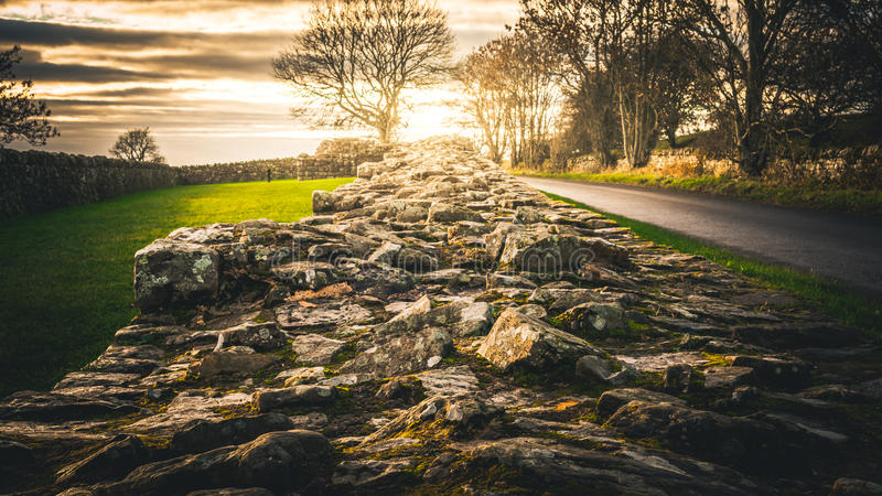 Hadrian ` s墙壁 库存照片