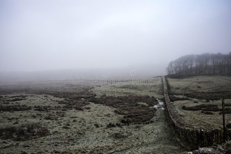 Hadrian ` s ściana na zimnym, mglistym dniu, zdjęcia royalty free