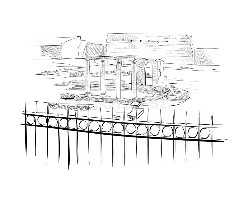 Hadrian ` s biblioteka athens Grecja Ręka rysujący nakreślenie również zwrócić corel ilustracji wektora ilustracji