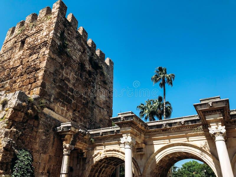 Hadrian`s Gate in Antalya stock photography