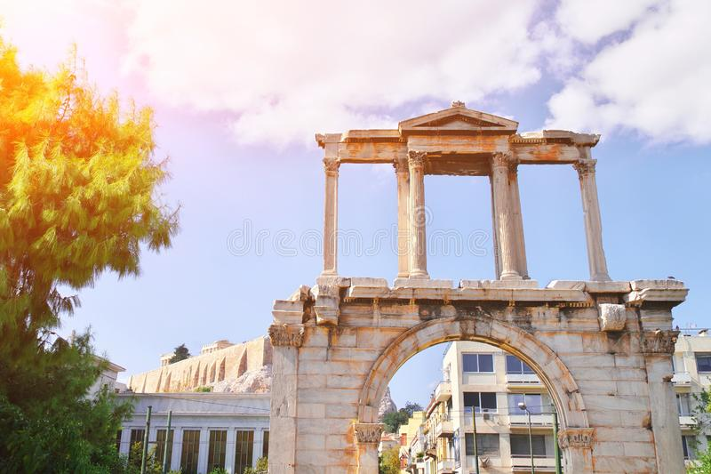 Hadrian`s gate of new city of Athens. The Arch of Hadrian, commonly Hadrian`s Gate, is a monumental gateway resembling a Roman royalty free stock images