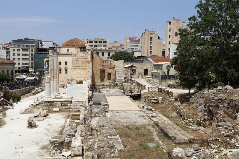 Hadrian`s Library Site Ruins in Athens, Greece stock photo