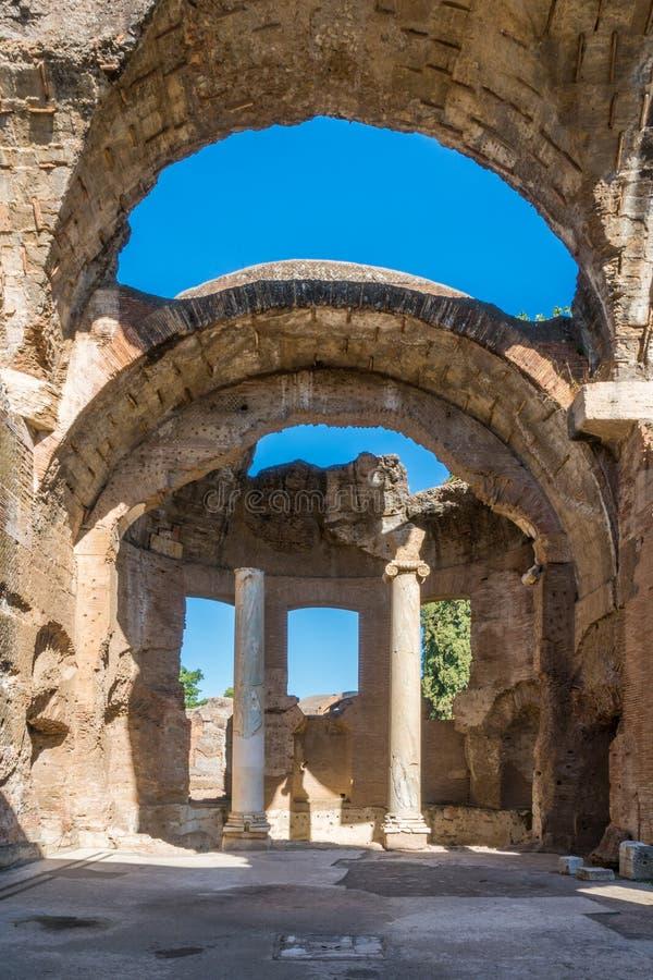 Hadrian`s Villa, large Roman archaeological complex at Tivoli, province of Rome, Lazio, central Italy. stock photo