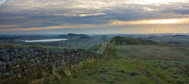 Hadrians väggpanorama arkivfoton