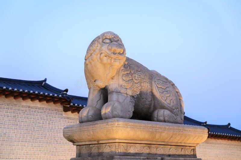 Haechi statue. Before the main gate of Gyeongbok Palace in Seoul, South Korea royalty free stock image