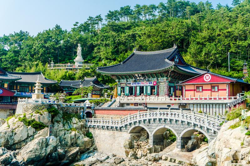 Haedong Yonggungsa, Chinese buddhism temple located on the rock cape of East Sea. BUSAN, SOUTH KOREA - JULY 20, 2017 : Haedong Yonggungsa, Chinese buddhism royalty free stock photos