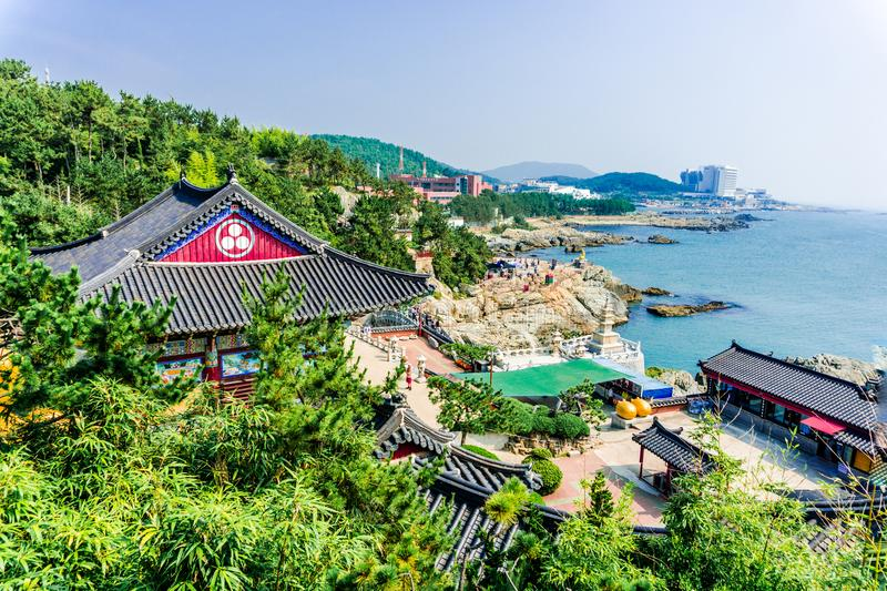 Haedong Yonggungsa, Chinese buddhism temple located on the rock cape of East Sea. BUSAN, SOUTH KOREA - JULY 20, 2017 : Haedong Yonggungsa, Chinese buddhism royalty free stock photo