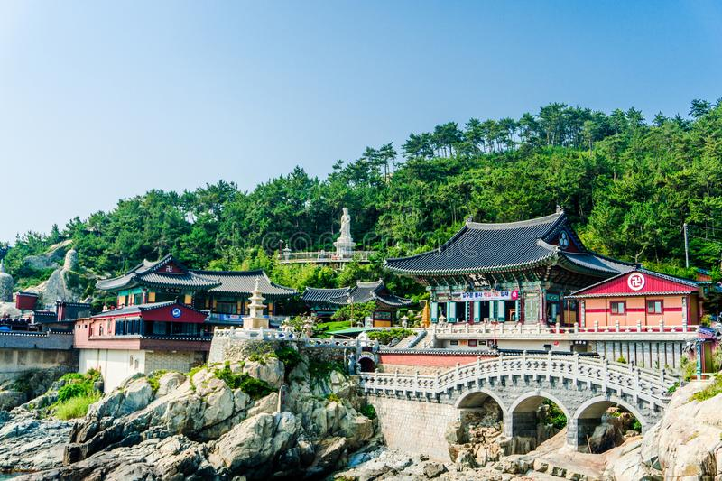 Haedong Yonggungsa, Chinese buddhism temple located on the rock stock photo