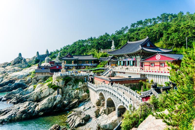 Haedong Yonggungsa, Chinese buddhism temple in South Korea. BUSAN, SOUTH KOREA - JULY 20, 2017 : Haedong Yonggungsa, Chinese buddhism temple located on the rock royalty free stock photo