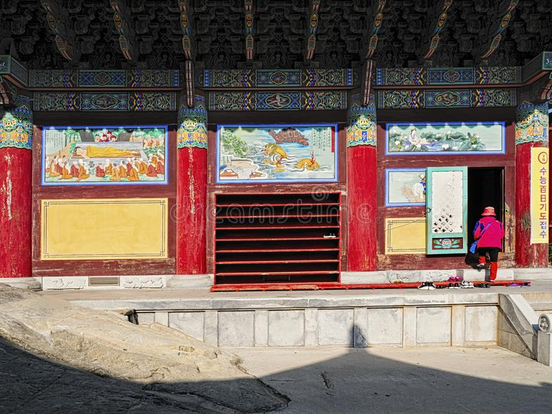 Haedong yonggungsa temple in busan. Busan, south korea, 8th november 2017, haedong yonggungsa temple in busan offers visitors the rare find of a temple along the royalty free stock image