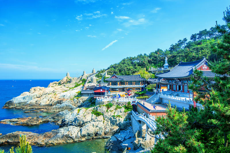 Haedong Yonggungsa Temple and Haeundae Sea in Busan, South Korea stock images