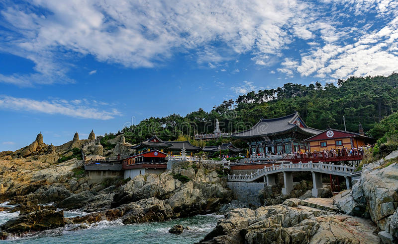 Haedong Yonggungsa Temple and Haeundae Sea royalty free stock images