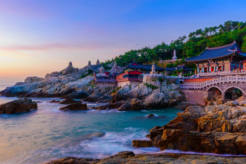 Temple and sunrise in Busan city in South Korea. stock photography