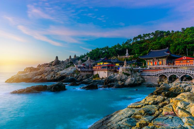 Temple and sunrise in Busan city in South Korea. royalty free stock photo
