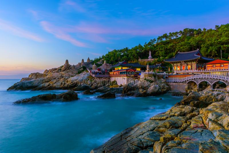 Temple and sunrise in Busan city in South Korea. stock photo
