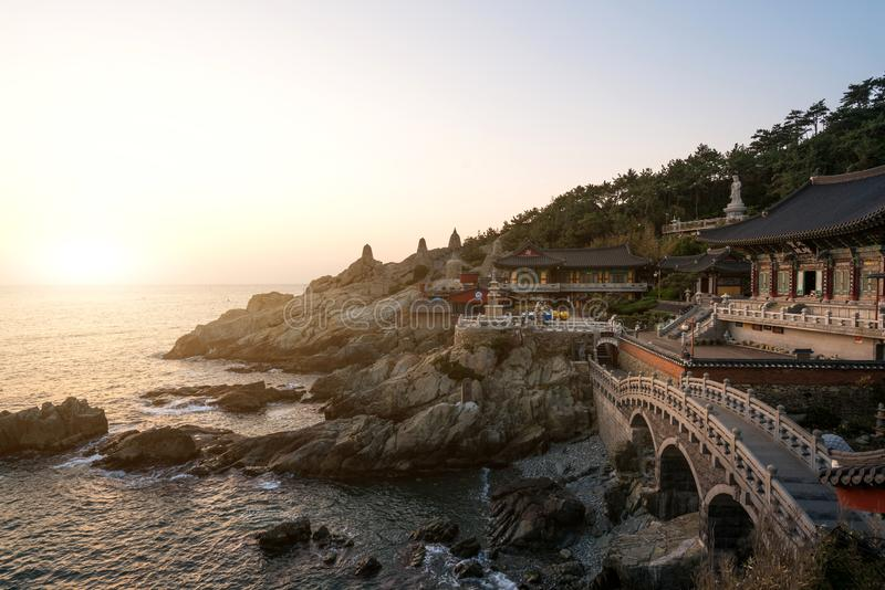 Haedong Yonggungsa Temple in morning in Busan, South Korea.  royalty free stock images