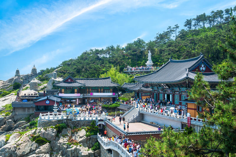 Haedong Yonggungsa Temple. Sits upon a cliff overlooking the East Sea in Busan, South Korea stock image