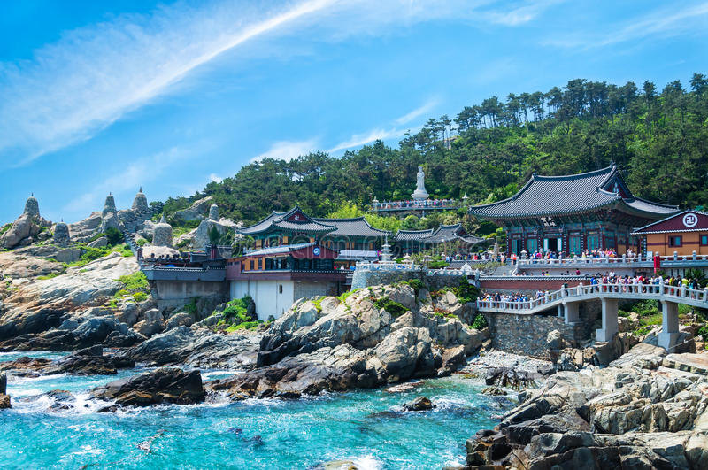 Haedong Yonggungsa Temple. Sits upon a cliff overlooking the East Sea in Busan, South Korea stock photo