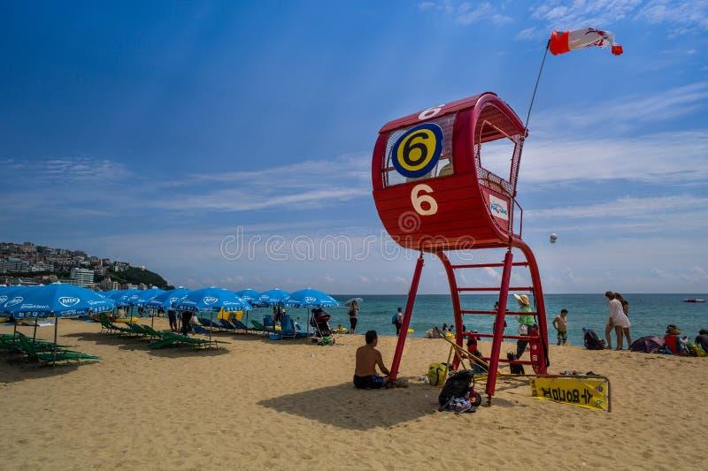Haeundae美丽的海滩, Busanm,韩国 免版税库存图片