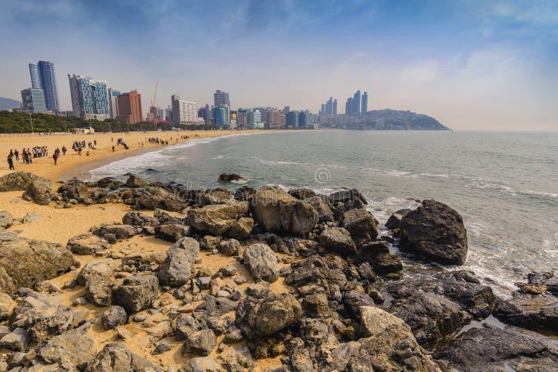 Haeundae-Strand, Busan, Korea stockbilder