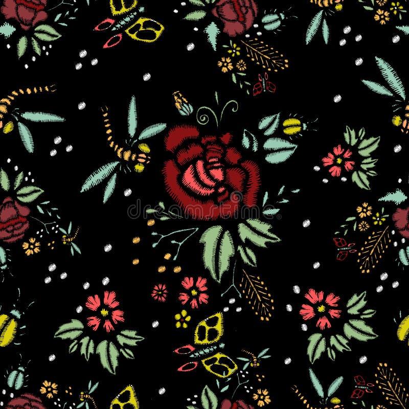Hafciarscy ściegi Z różami, Bezszwowy wzór ilustracji