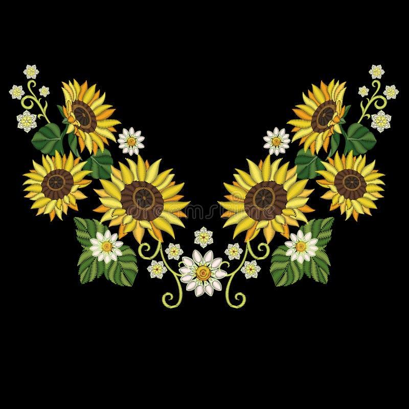 Hafciarscy słoneczniki i stokrotka kwiaty ilustracja wektor