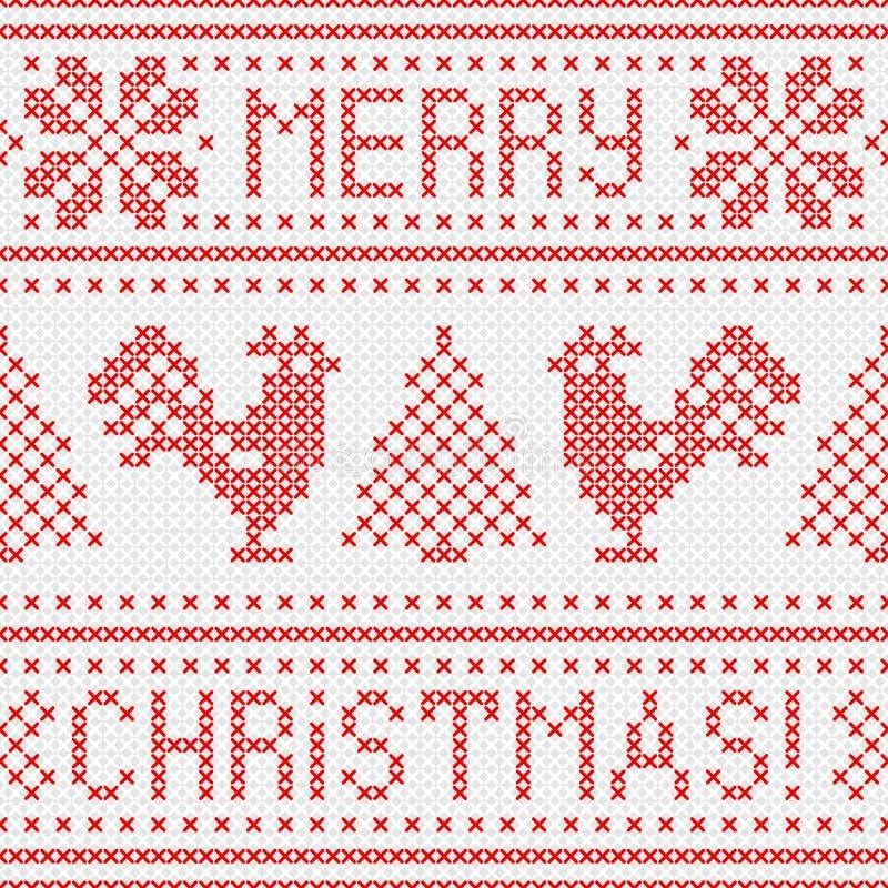 Hafciarska kartka bożonarodzeniowa z przecinającego ściegu upiększonymi kogutami royalty ilustracja