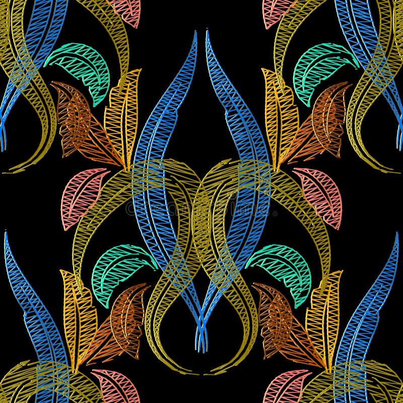 Hafciarski barokowy wektorowy bezszwowy wzór Makata textured vi royalty ilustracja