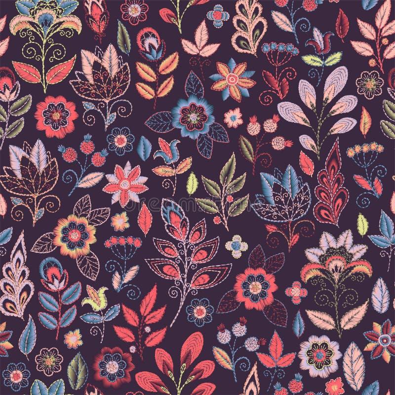 Hafciarski bezszwowy wzór z pięknymi kwiatami Wektorowy handmade kwiecisty ornament na ciemnym tle Broderia dla ilustracji